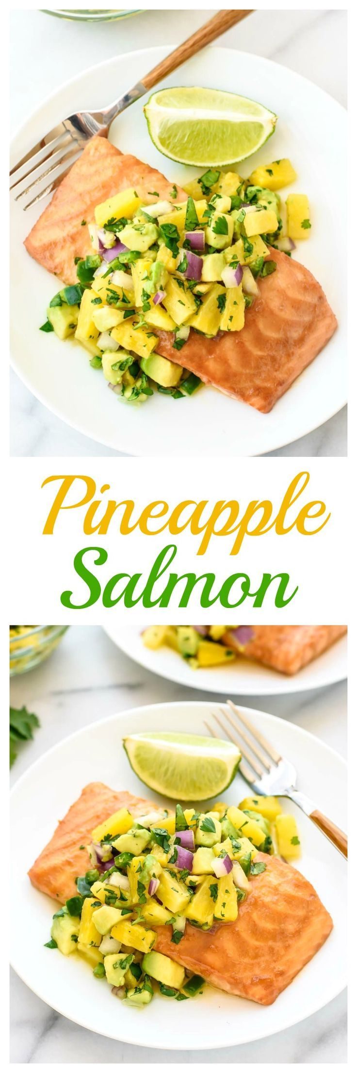 Pineapple Glazed Salmon with Avocado Salsa. Tastes like vacation! Fresh, healthy, and packed with flavor. Canned pineapples make this quick and easy, even for busy weeknights. Recipe at www.wellplated.com @wellplated