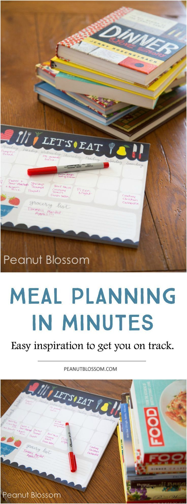 Struggle with meal planning? Check out this awesome approach to planning out your recipes for the whole week in just minutes. I love how much time it saves me not having to worry about what to make for dinner! The system works especially great for getting dinner on the table during busy school nights.