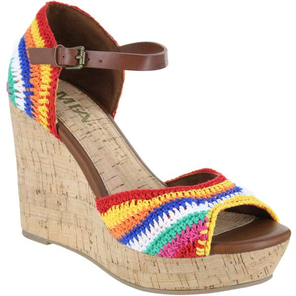MIA Shoes Rainbow Hanah Wedge Sandal ($30) ❤ liked on Polyvore featuring shoes, sandals, rainbow sandals, high heel platform shoes, wedges shoes, multi color sandals and high heel sandals