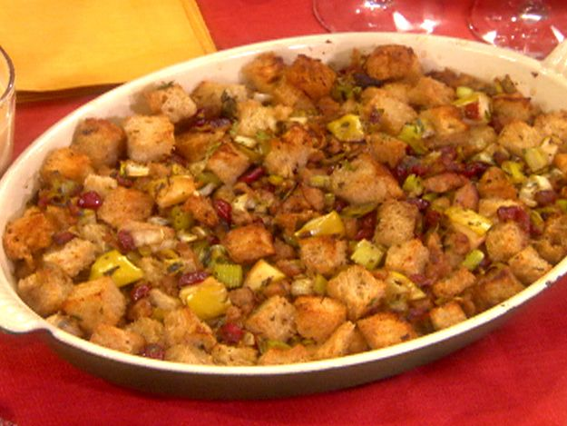 Sausage, Dried Cranberry and Apple Stuffing from FoodNetwork.com---Best stuffing recipe I've ever made