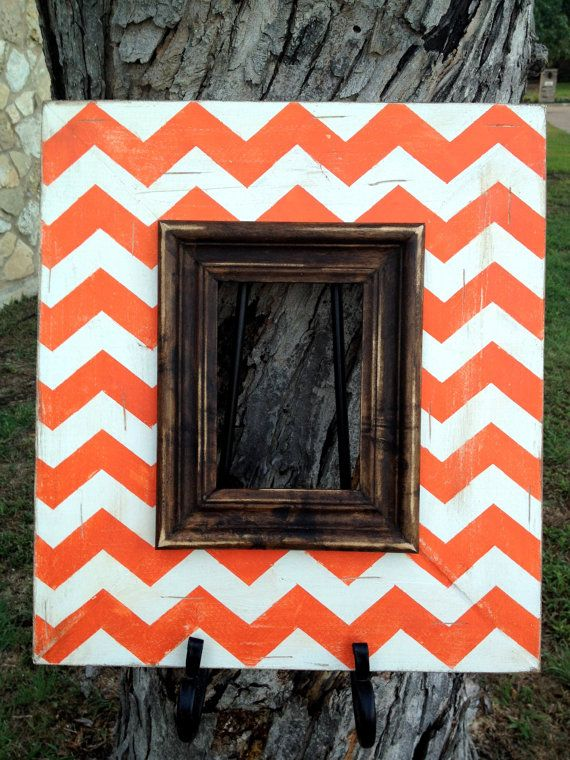 distressed orange & heirloom white chevron 5x7 frame with dark walnut stained trim