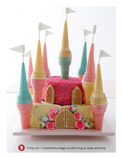 Castle cake with ice cream cones