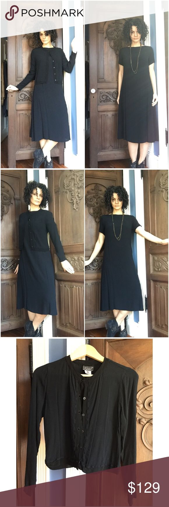 GHOST Dress/Cardi 2-piece Set Can be worn together or on their own, this designer uses fabrics and techniques to make clothes flattering on any body type. Easy to wear and care for. See other Ghost listing in my closet! Ghost Dresses Midi