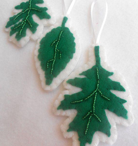 Beaded Felt leavesset of 3 ornaments by TheGroovyZoo on Etsy