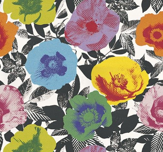 Ballona Tropical (1814/522) - Prestigious Wallpapers - A contemporary wallpaper with a digital print of large flowers on a black and white background of foliage. Shown here in a variety of colours. Other colourways are available. Please request a sample for a true colour match. Paste-the-wall product. Wide width product.