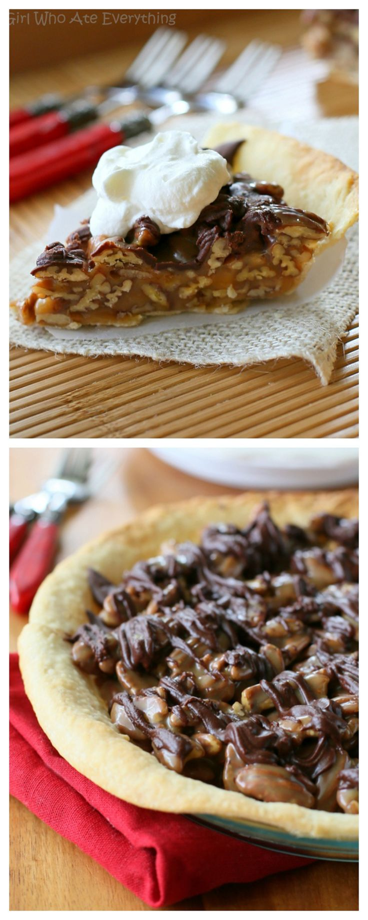 Praline Turtle Pie - Layers of caramel, pecans, and chocolate. So easy and decadent. the-girl-who-ate-everything.com