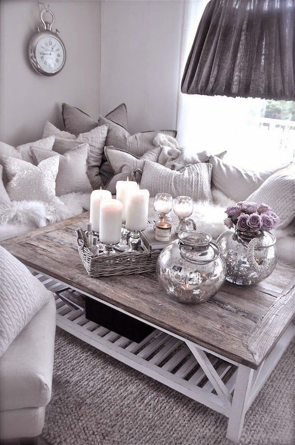 Rustic Contemporary Living Rooms Elegant Rustic Glam Living Room With Tons Of Pillows Fy Deco Table Decor Living Room Purple Living Room Living Room Decor Cozy