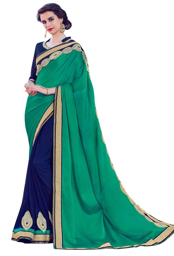 #Green,#Violet Georgette #Half N Half #Saree #nikvik  #usa #designer #australia #canada #freeshipping #dress #saris