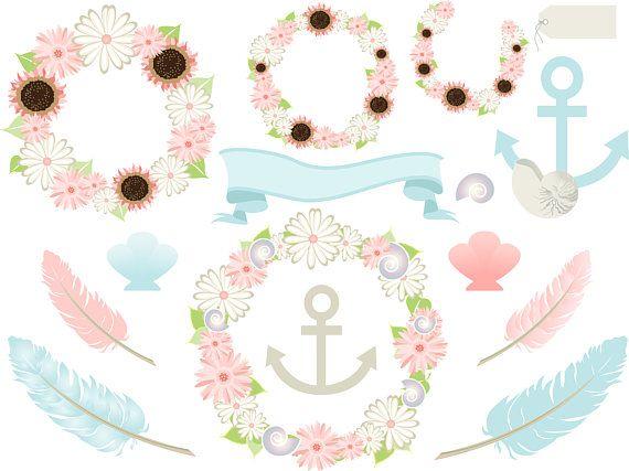 Beach Wreath Anchor Clipart Set Soft Pastels Digital