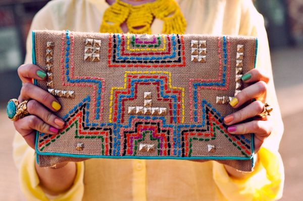 How to Master Global Style | Embroidered clutch