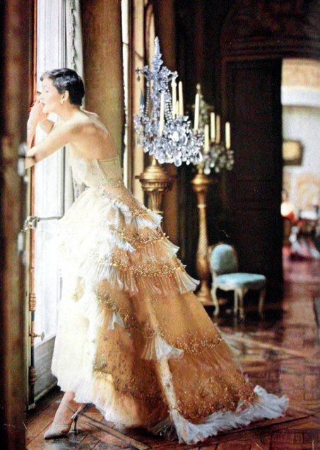 1950's gown via The Romantic Styles Of Shabby Chic And Paris Apartment Facebook.