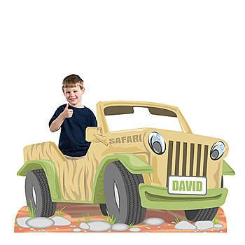 Our Safari Jeep Photo Standee has the look of a tan jeep with a personalized license plate in the front.