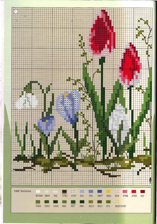 Miroslava 1/2 [Cross Stitch - Spring - Flowers] [Pattern / Chart]