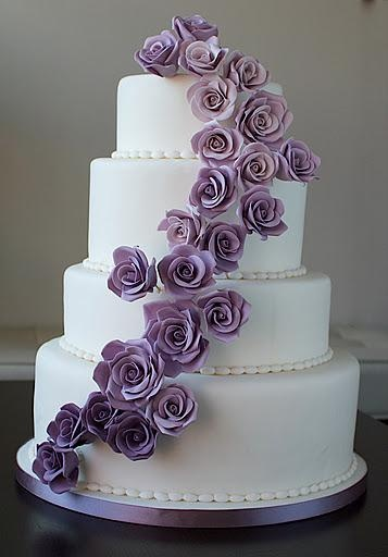 White Wedding Cake With Purple Roses - Simple yet still fun and elegant
