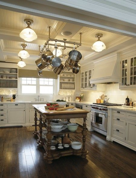 Love the islandPots Racks, Ideas, Kitchens Design, Dreams Kitchens, Ceilings, House, Country Kitchens, Philip Mitchell, White Kitchens