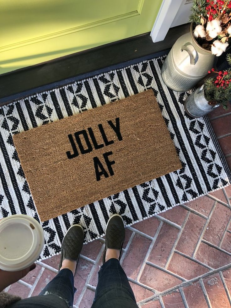 Jolly Af Funny Christmas Doormat With Images Christmas Doormat