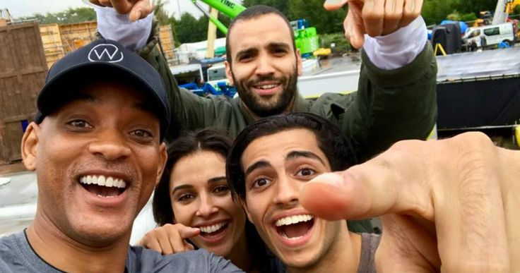 Will Smith Shares Aladdin Selfie as Shooting Begins -- Will Smith leads the ensemble cast of Disney's Aladdin remake under the direction of Guy Ritchie. -- http://movieweb.com/aladdin-movie-2018-disney-remake-cast-selfie-photo/