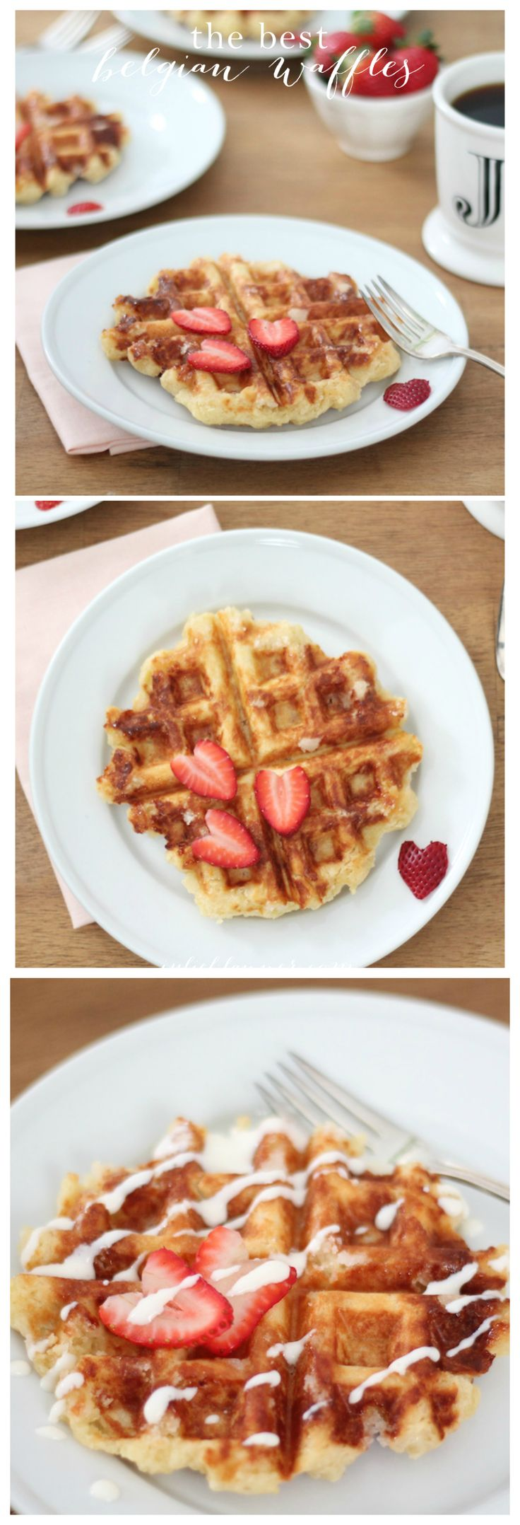 """The best Belgian waffle recipe with creme fraiche & a """"secret"""" ingredient. These waffles are great for breakfast, brunch or dessert!"""