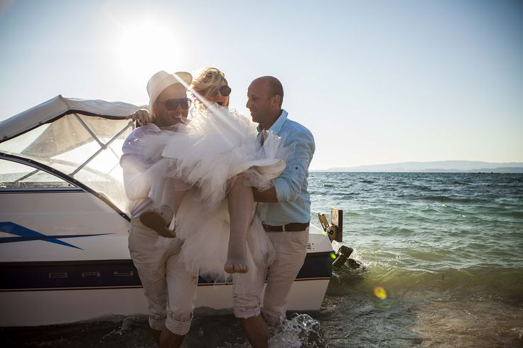 Impressive entrance of the bride  with the boat #beachwedding #weddingingreece #mythosweddings #kefalonia
