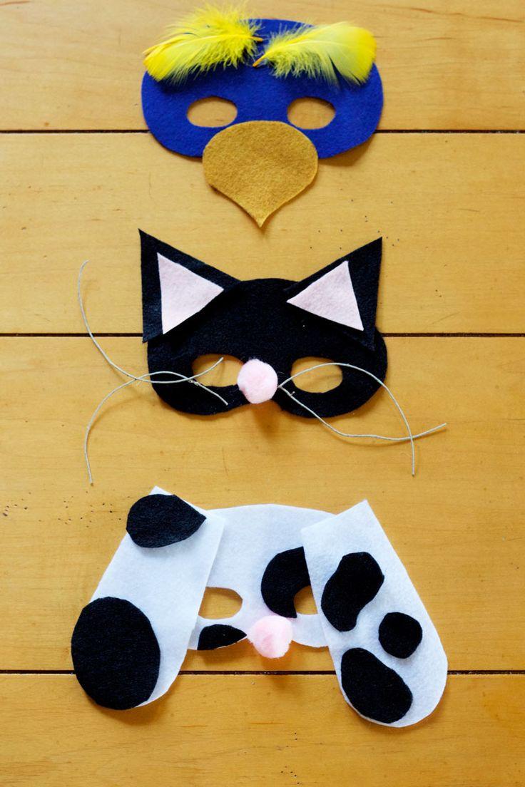 Diy party costume mask black cat kitten template printable - Felt Pet Masks Free Templates A Fun Diy Craft For Halloween