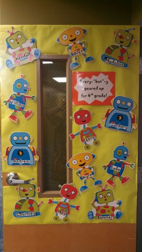 My back to school door I did this year...robots were in a 6 pk for $1 at dollar tree
