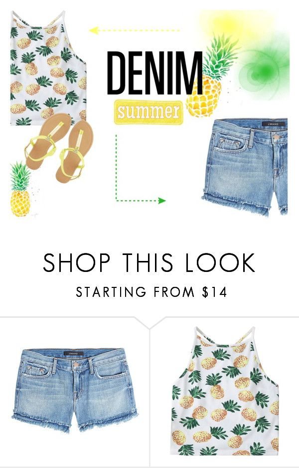 """""""Denim Cutoffs"""" by pocok01 ❤ liked on Polyvore featuring Ananas, J Brand and Charlotte Russe"""