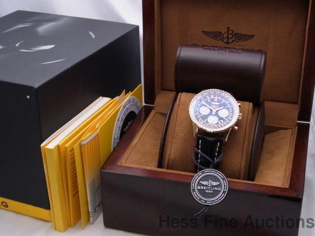 RARE Ltd Ed 18k Rose Gold Breitling Navitimer Chronograph 91/200