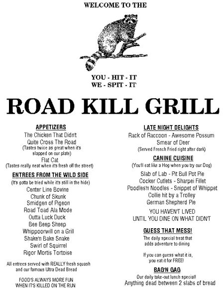 Funny Redneck Menu | Don't Miss Funny Pictures with Fine Dining, Redneck Hospitality and ...