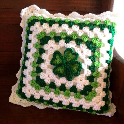 St. Patrick's Day Crochet Granny Square Pillow Cover