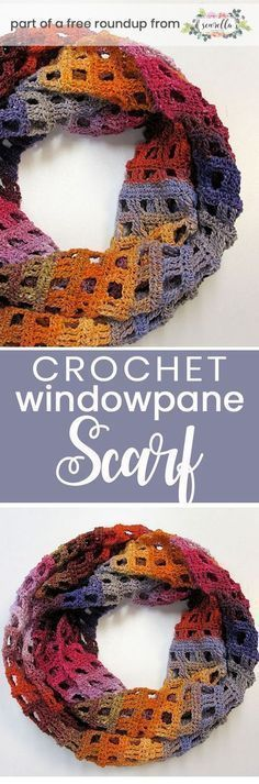 Crochet this easy beginner friendly windowpane infinity scarf from Adrianne Lash…