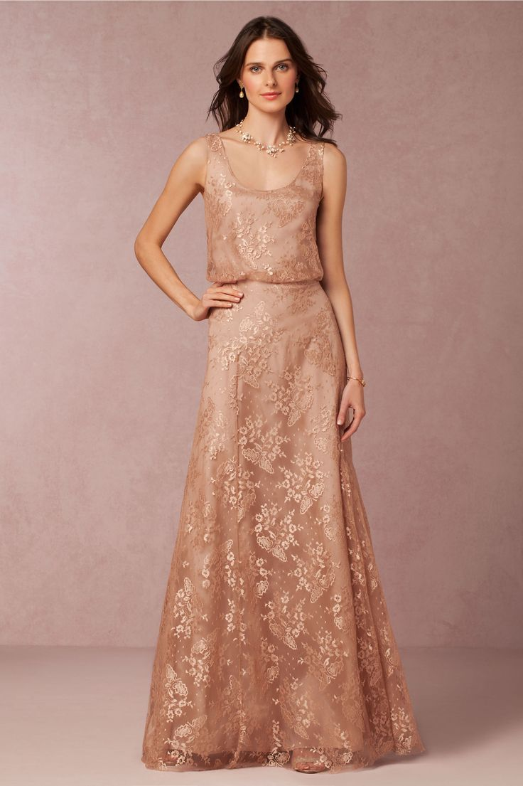 metallic lace bridesmaid dress | Natalya Dress from BHLDN