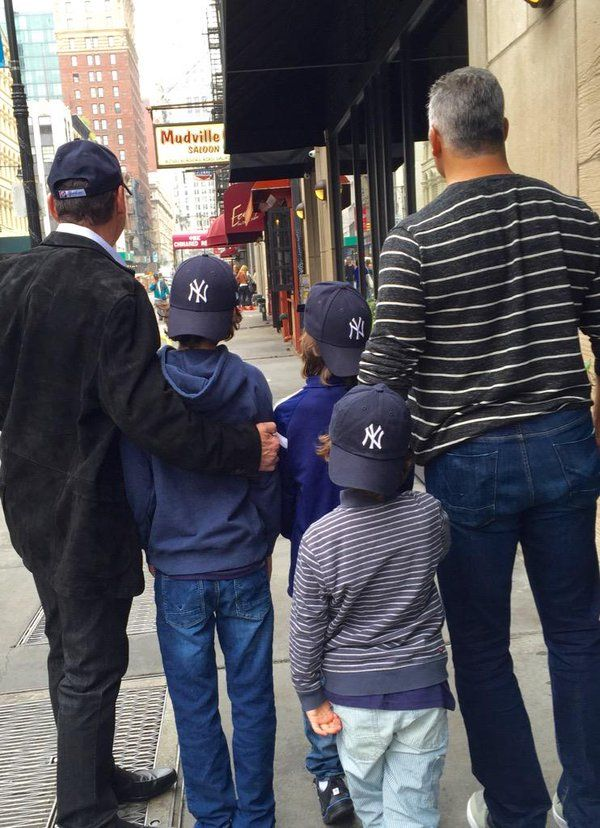 WWE CEO Vince McMahon, his son Shane McMahon, and Shane's three sons Declan, Kenyon, and Rogan, attending a New York Yankees game #WWE #WWEFamilies #McMahonFamily