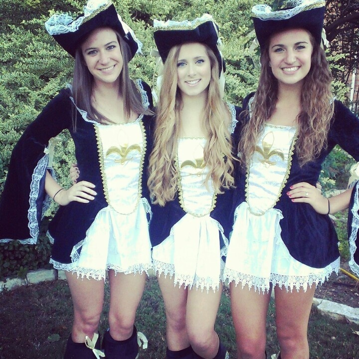 Three musketeers Halloween costume for girls. I would need to make it more age appropriate!!!!