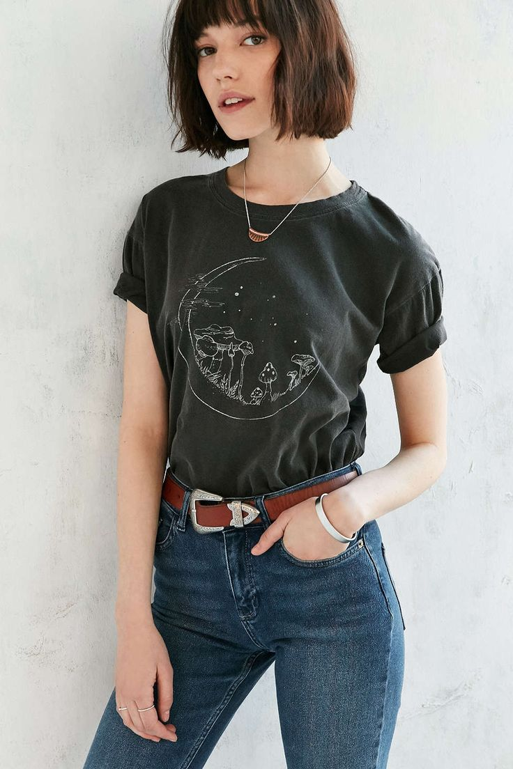This is a great look for my vintage tees . Truly Madly Deeply Mushroom Moon Tee - Urban Outfitters