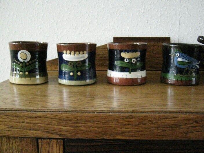 4 mugs by Rolf Hansen Kongsberg Norway
