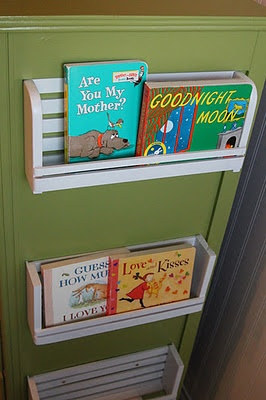 spice racks to the side of a dresser for kids books