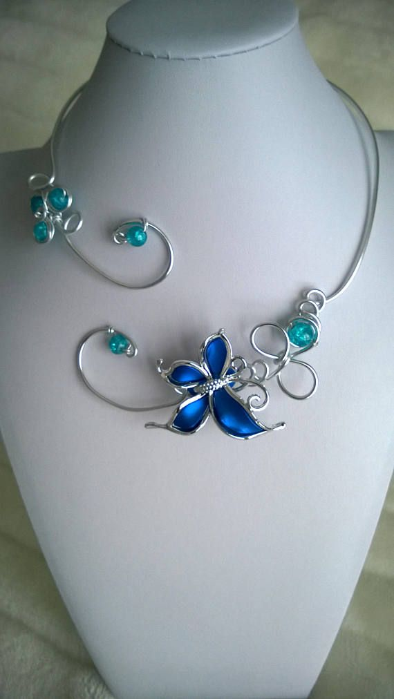 Wedding jewelry Wire jewelry Blue wedding jewelry Open