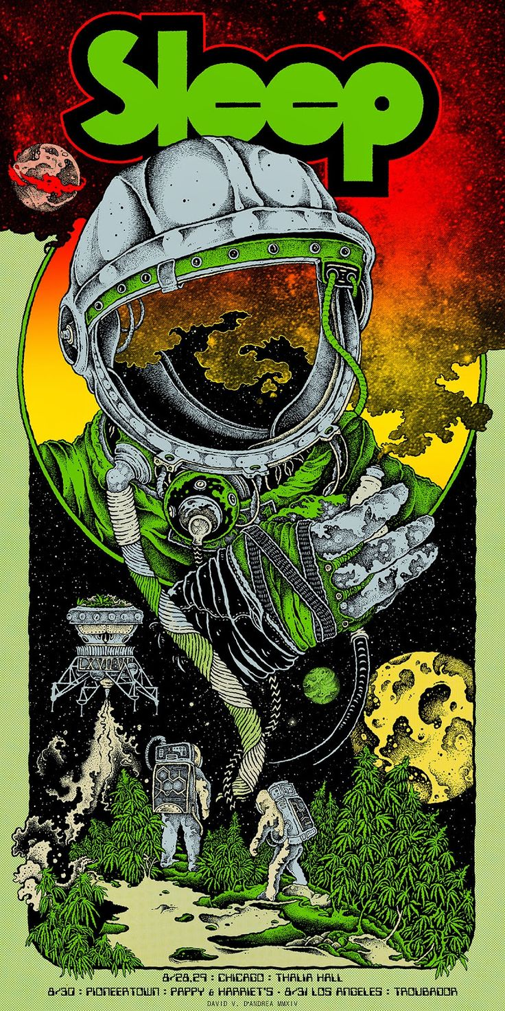 Sleep (the band) Chicago/California Poster Release Details - Original artwork by David V. D'Andrea