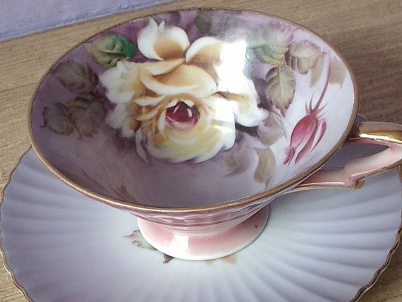 Antique hand painted tea cup and saucer Lefton by ShoponSherman,