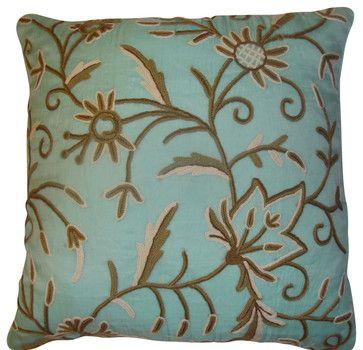 Crewel Pillow Marigold Crystal Blue Silk Organza (20x20) - craftsman - bed pillows and pillowcases - Crewel Fabric World