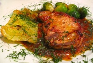 Pork loin chop with fennel bulb