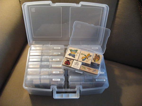 I love using these IRIS photo storage boxes for my wooden stamps! EAch large box contains 12 4x6 boxes, just the right size for one layer of wooden stamps. I categorized mine and labeled each box so I can grab just the right box of stamps. Clear so I can see at a glance which one I want.