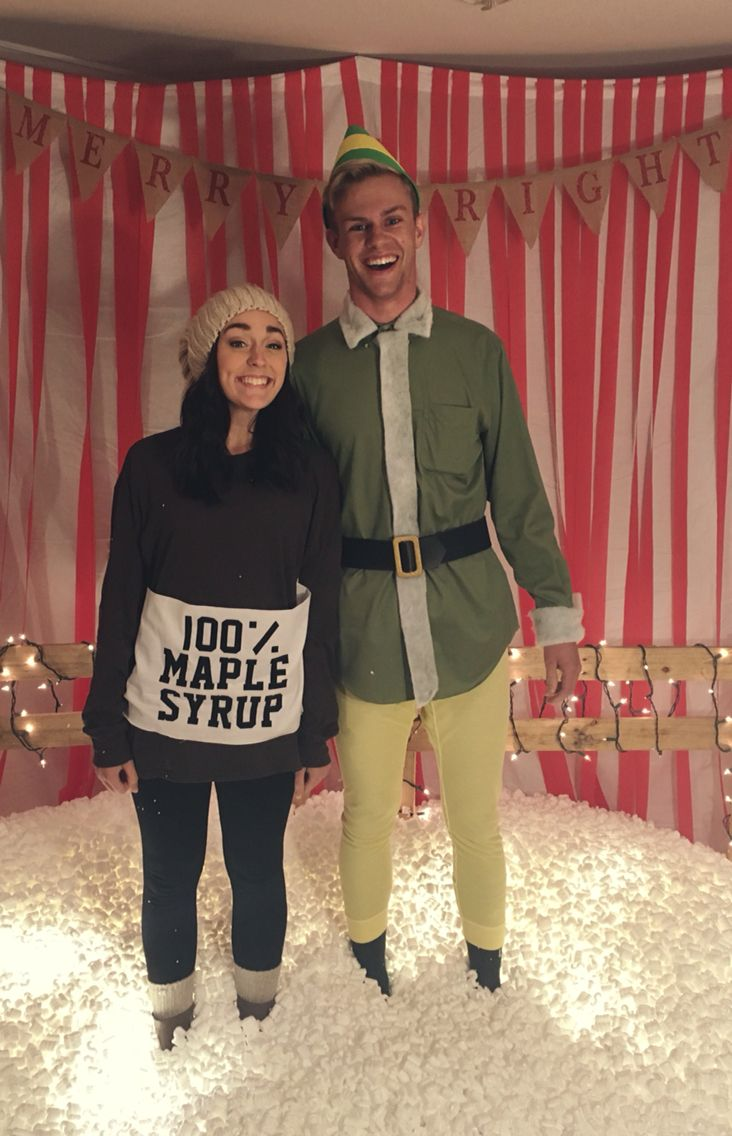 Couples costume. Elf and Maple Syrup. DIY Christmas. #christmas #couple #costume #elf #diy