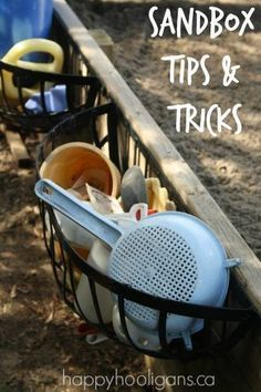 Tips and tricks for a backyard sandbox!  Have the best sandbox on the block!  Add ramps, a sand-kitchen, natural elements, a sand-wall and handy storage features to the sandbox in your backyard! - Happy Hooligans
