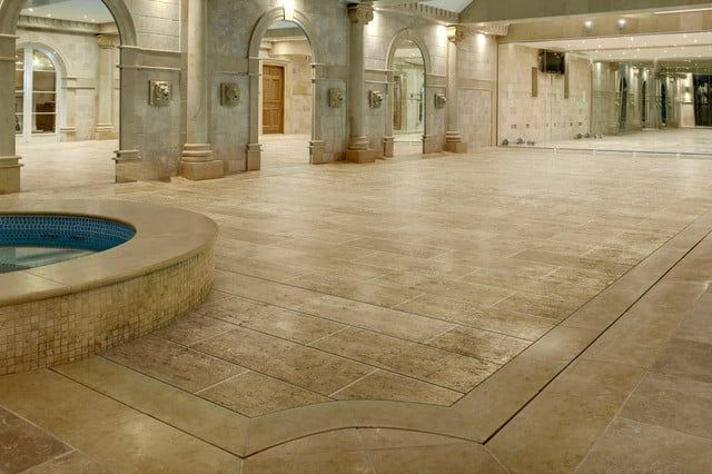 Hydro floors are moveable floors that raise and lower to hide or reveal swimming pools. They can be put in a basement, or outside to double as a patio.