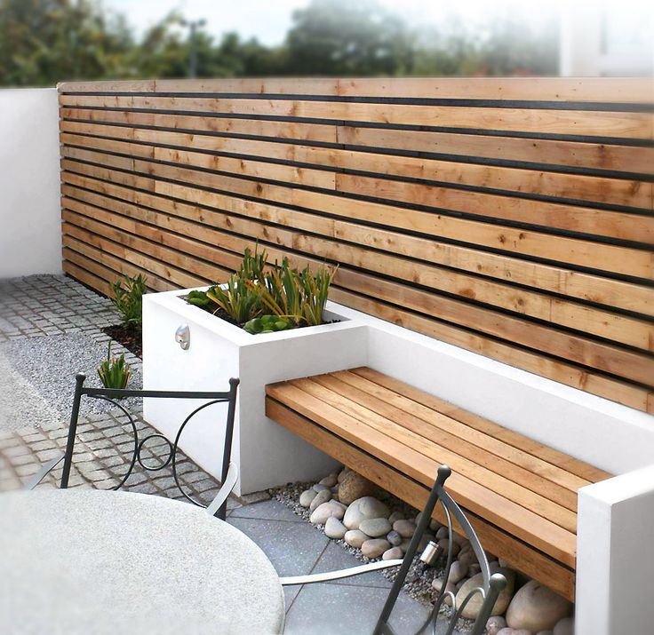 Horizontal slat fence, bench, contemporary planter