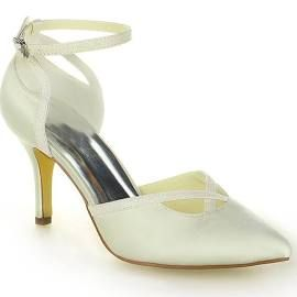 Elegant 3 inch Stiletto Heels Evening Shoes Beige Bridal Shoes