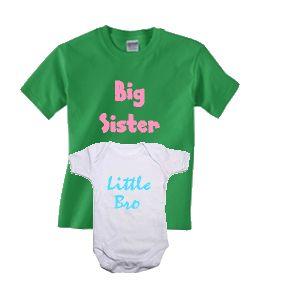 Big Sister T-shirt and Little Bro baby short sleeve bodysuit set