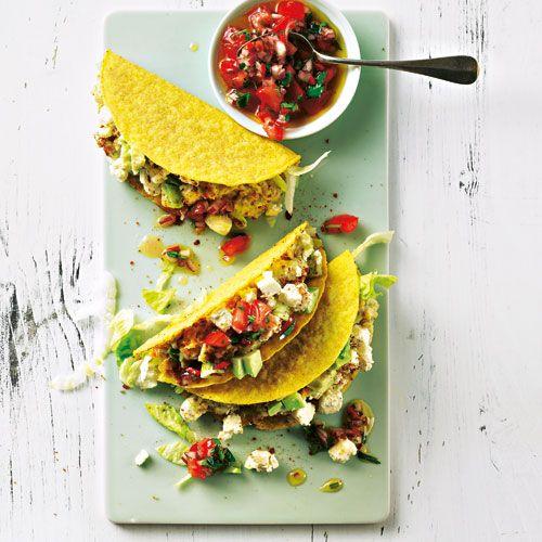 Tacos mit Avocado-Linsen-Füllung