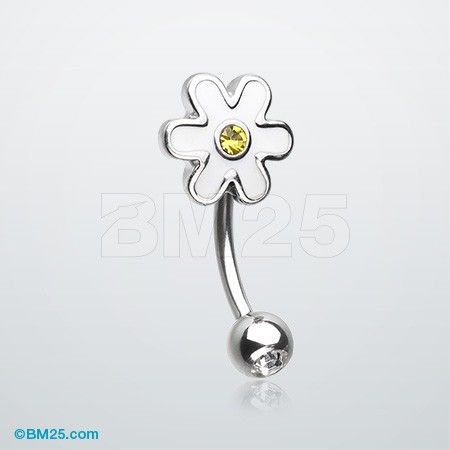 Adorable Daisy Steel Curved Barbell Eyebrow Ring